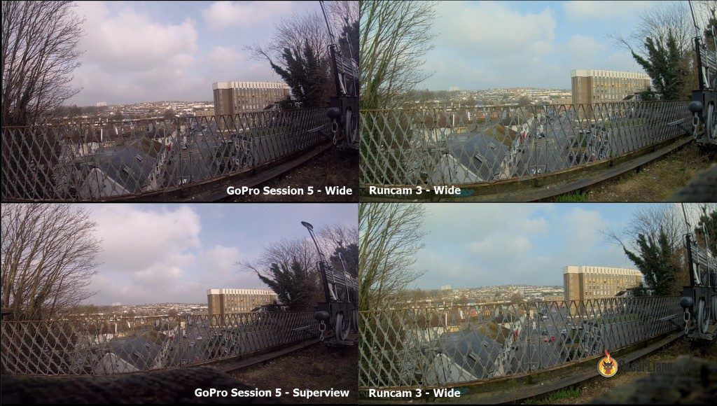 Comparaison du FOV Runcam 3 et GoPro Hero5 Session