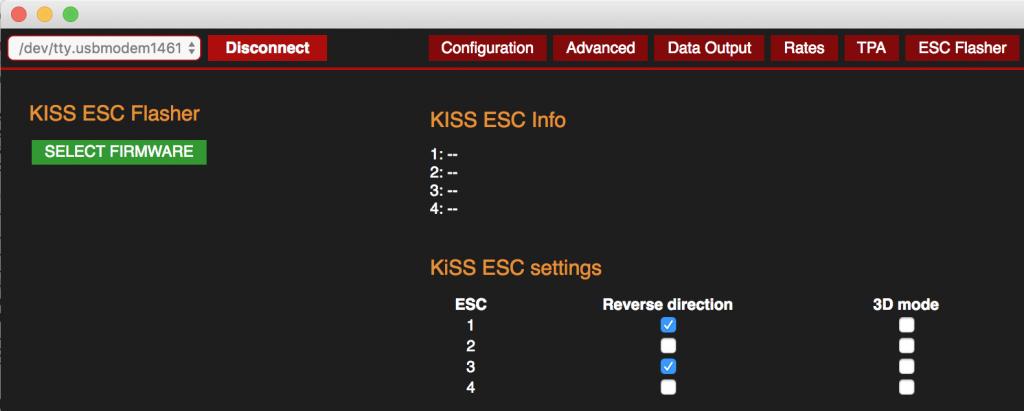 Kiss ESC motor rotation