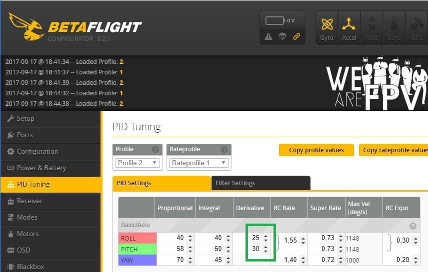 BetaFlight 3.2 réglages PID - baisser les D