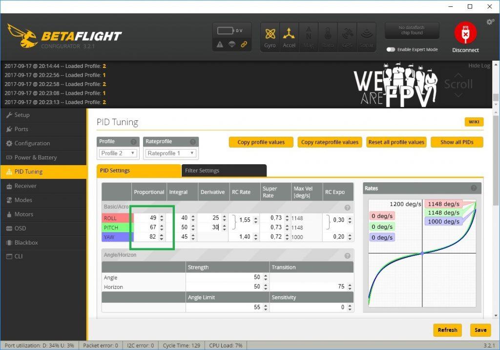 BetaFlight 3.2 réglages PID - monter les P