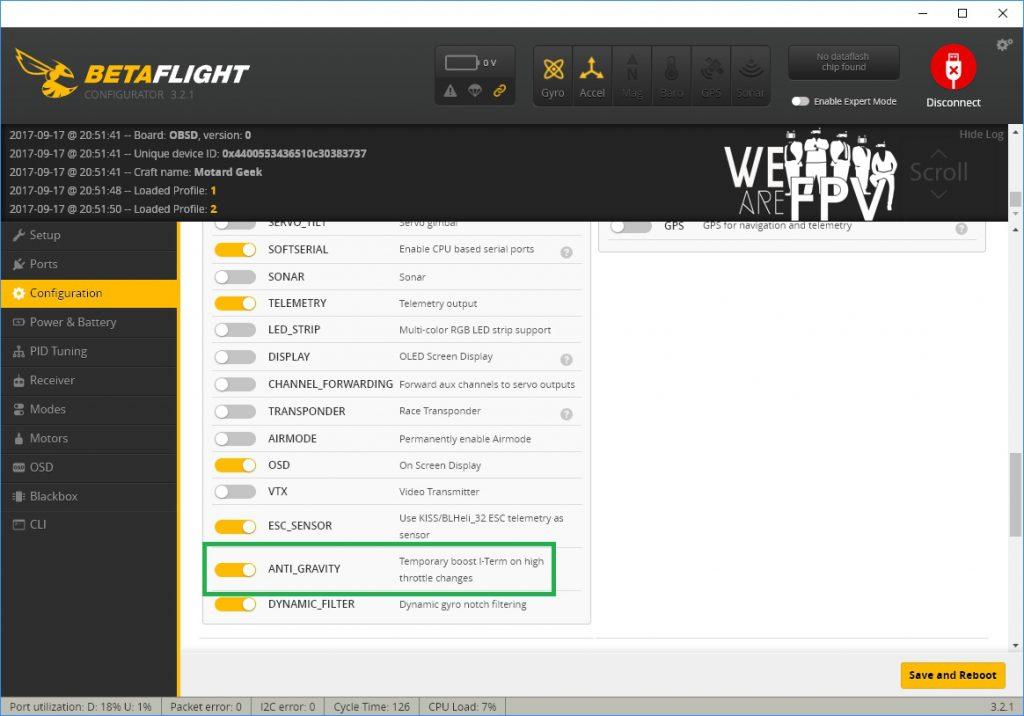 BetaFlight 3.2 réglages PID - réglage anti-gravity