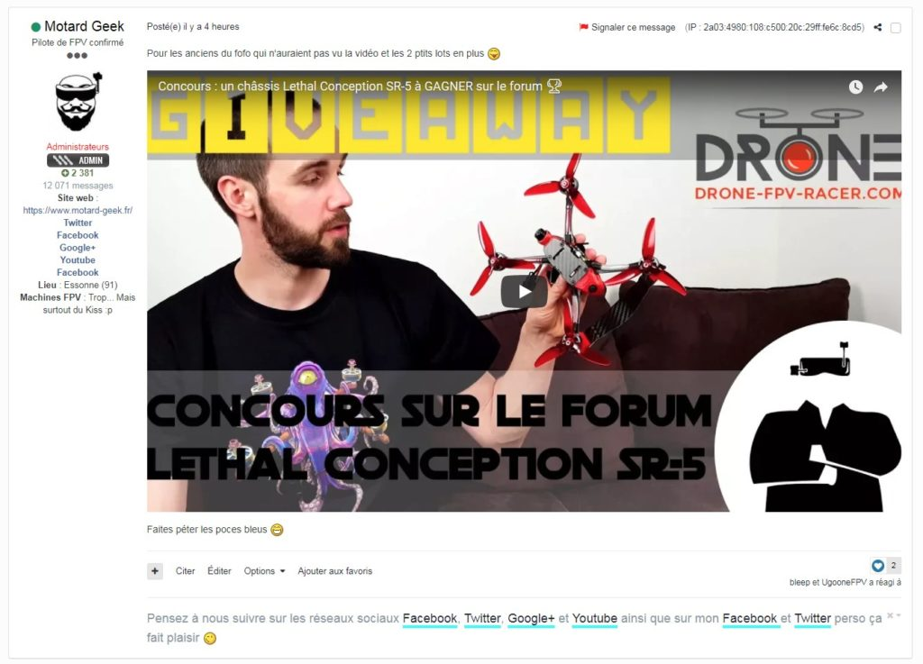 forum wearefpv intégration YouTube