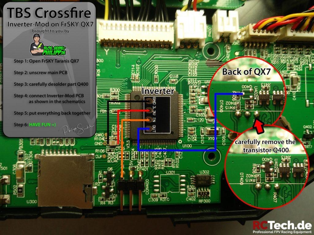 schéma cablage crossfire FrSky Taranis QX7