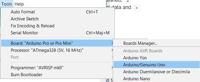 Arduino sélectionner carte