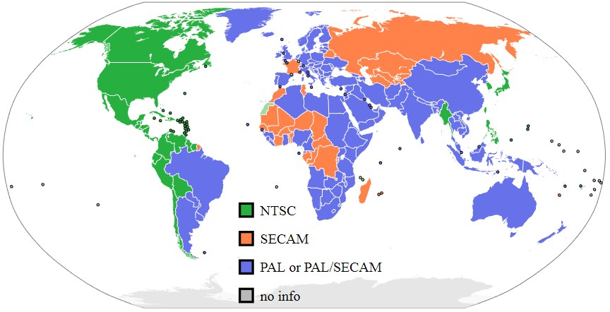 répartition pal vs ntsc dans le monde