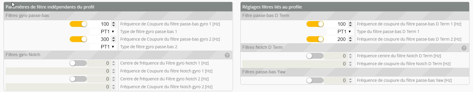 filtres par defaut betaflight 3.5