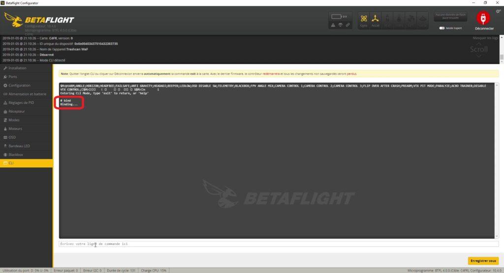 tuto betaflight 4 bind command