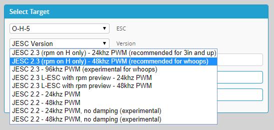 Sélection du firmware pour les ESCs (v2.3 en 48 Khz)