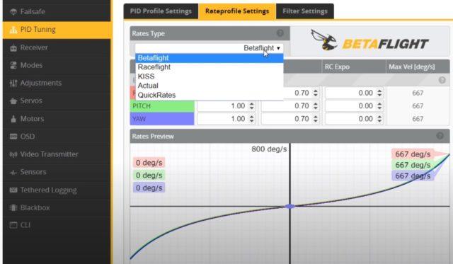 BetaFlight 4.2 Rates