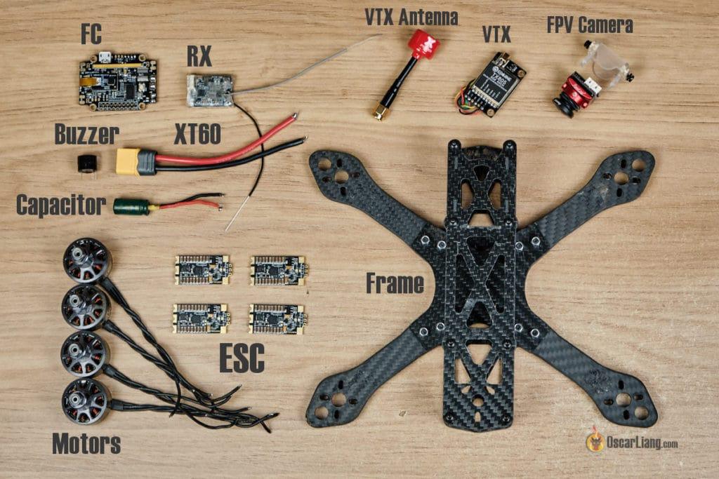 Vue d'ensemble des composants d'un drone fpv racer