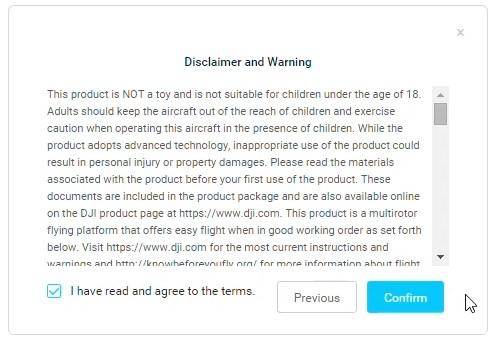 Tuto activation DJI Digital FPV System 05 - Disclaimer avertissement