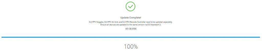 Tuto activation DJI Digital FPV System 14 - Mise à jour terminée