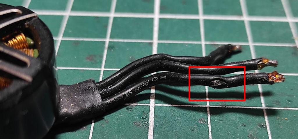 fil moteur entaillé