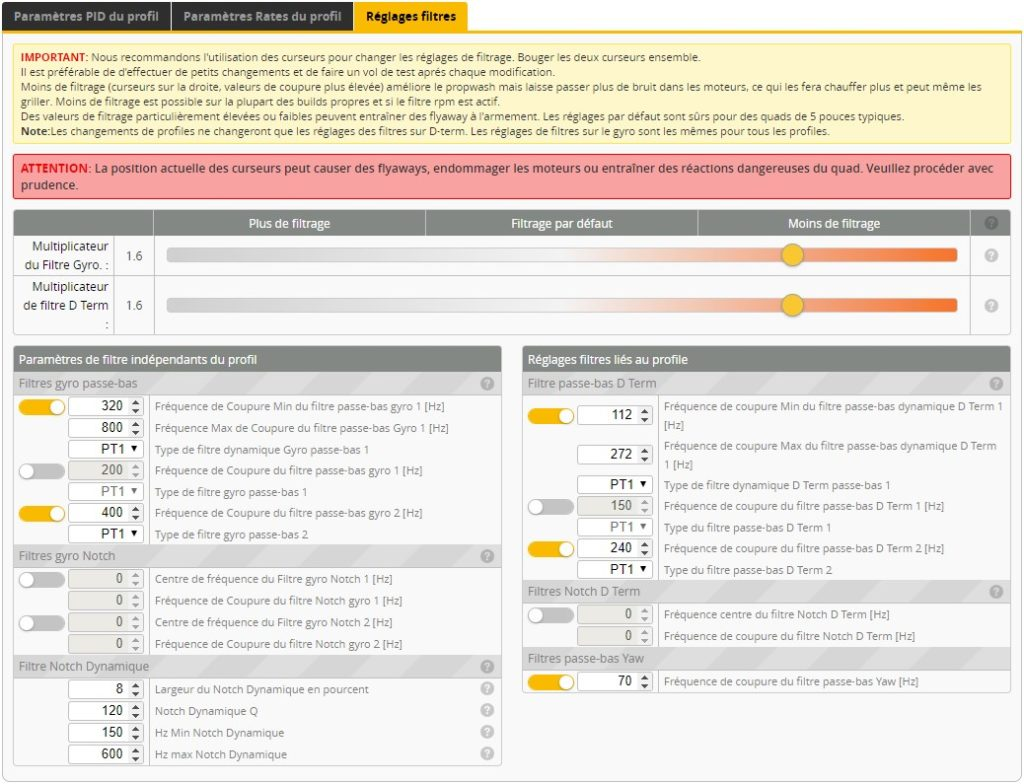 filtres betaflight nazgul5 v2 filters tuning