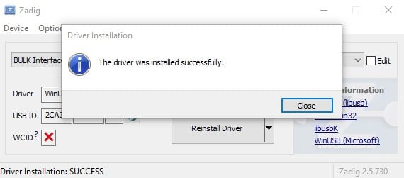 Zadig Driver Installed Successfully