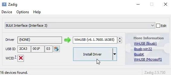 Install Driver WinUSB