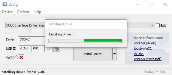 Zadig Installing Driver