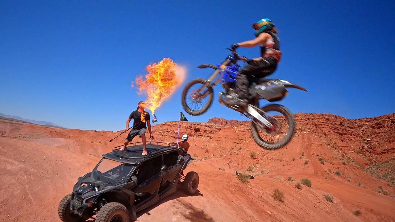 drone vs moto vs flammes